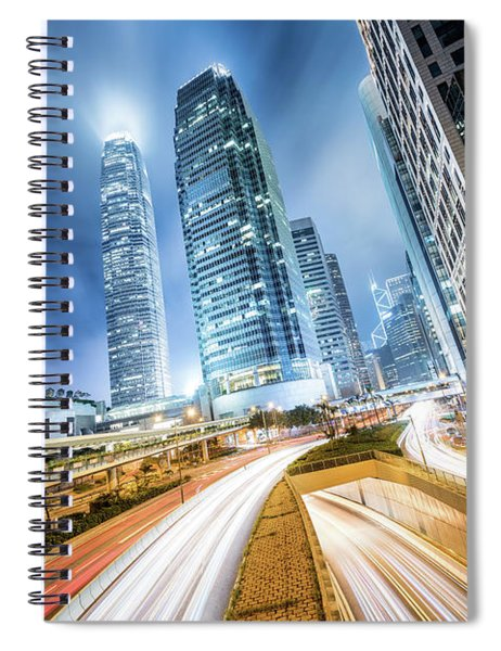 Cityscape At Night, Hong Kong, China Spiral Notebook