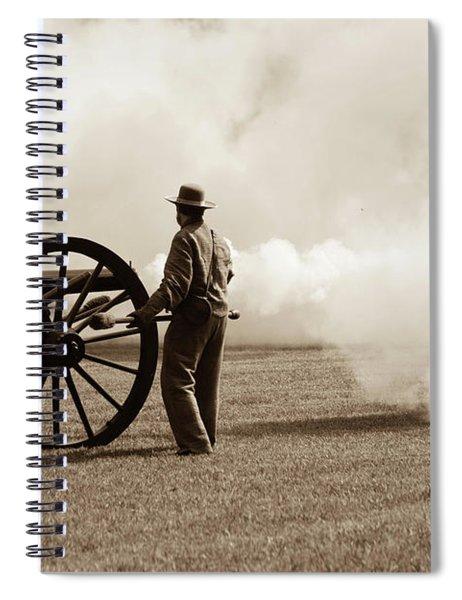Spiral Notebook featuring the photograph Civil War Era Cannon Firing  by Doug Camara