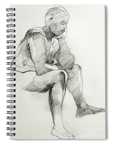 Classic Life Drawing Of A Sitting Man Sleeping Spiral Notebook