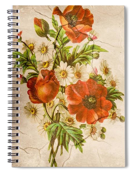 Classic Vintage Shabby Chic Rustic Poppy Bouquet Spiral Notebook