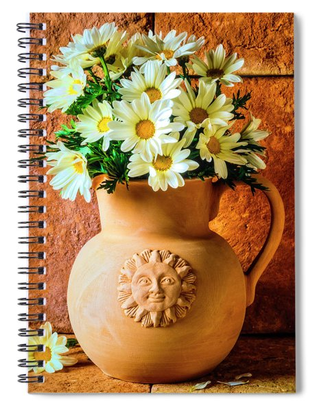 Clay Pitcher With Daises Spiral Notebook