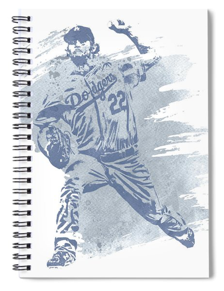 Clayton Kershaw Los Angeles Dodgers Water Color Art 1 Spiral Notebook