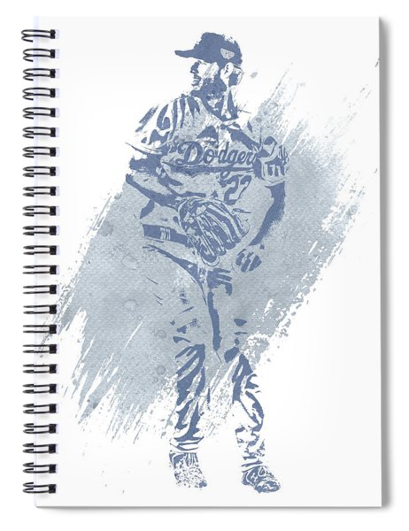 Clayton Kershaw Los Angeles Dodgers Water Color Art 2 Spiral Notebook