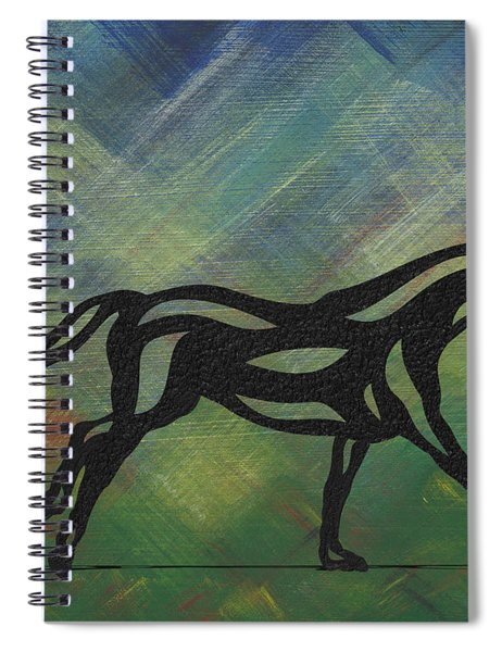 Spiral Notebook featuring the painting Clementine - Abstract Horse by Manuel Sueess