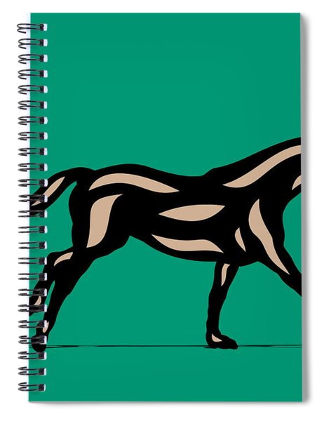 Spiral Notebook featuring the digital art Clementine - Pop Art Horse - Black, Hazelnut, Emerald by Manuel Sueess