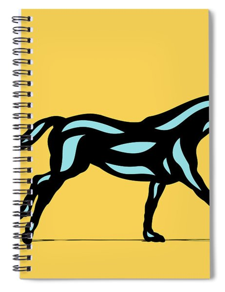 Spiral Notebook featuring the digital art Clementine - Pop Art Horse - Black, Island Paradise Blue, Primrose Yellow by Manuel Sueess