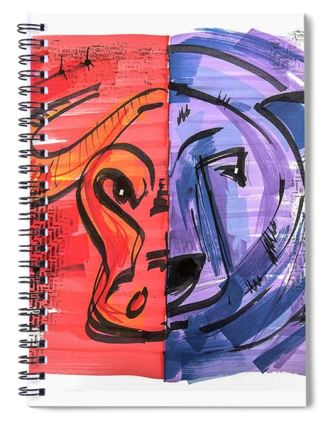 Clip Art Of Bear And Bull Of Stock Market Spiral Notebook