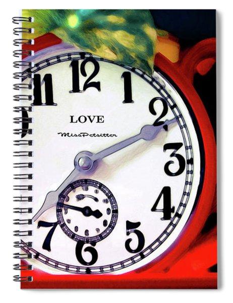 Clock In The Garden Painting  Spiral Notebook