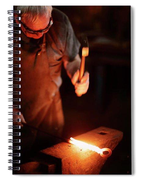 Close-up Of  Blacksmith Forging Hot Iron Spiral Notebook