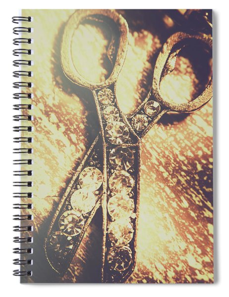 Close Up Of Jewellery Scissors Of Bronze Spiral Notebook