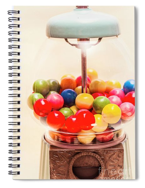 Closeup Of Colorful Gumballs In Candy Dispenser Spiral Notebook