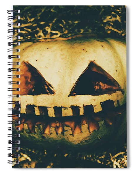 Closeup Of Halloween Pumpkin With Scary Face Spiral Notebook