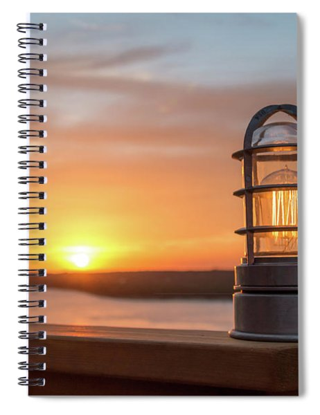 Closeup Of Light With Sunset In The Background Spiral Notebook