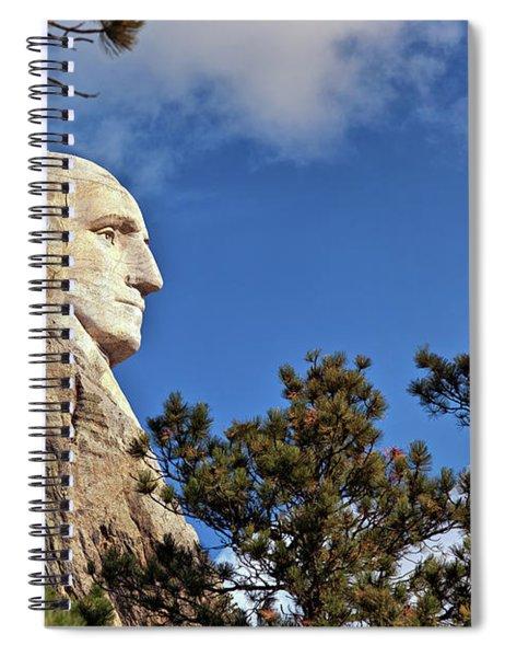 Closeup Profile Of George Washington At Mount Rushmore National Memorial In South Dakota Spiral Notebook