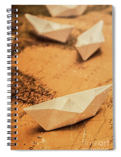 Closeup Toned Image Of Paper Boats On World Map Spiral Notebook