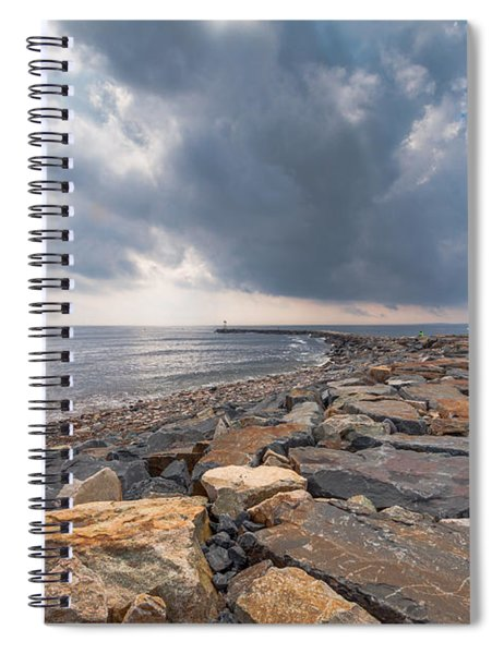 Clouds Over Old Scituate Light Spiral Notebook