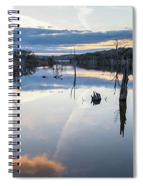 Clouds Reflecting On Large Lake During Sunset Spiral Notebook