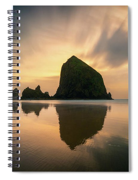 Cloudy Sunset At Cannon Beach Spiral Notebook