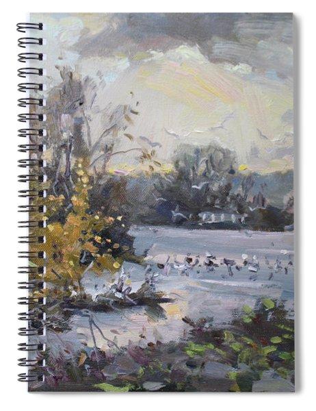 Cloudy Sunset In Niagara Falls River  Spiral Notebook