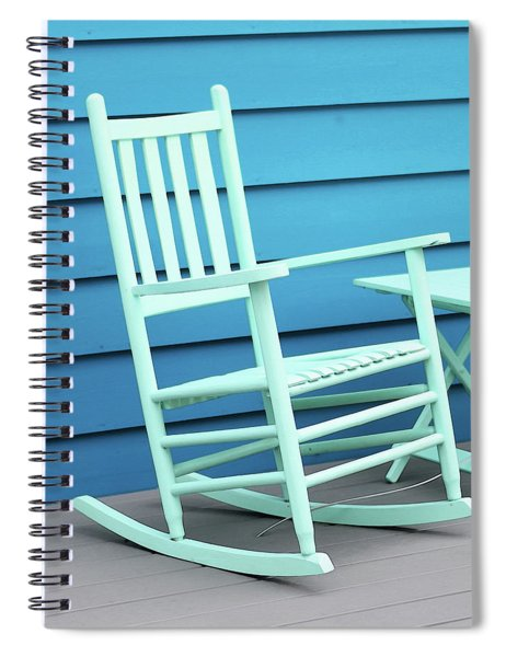 Coastal Beach Art - Blue Rocking Chair - Sharon Cummings Spiral Notebook