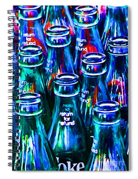 Coca-cola Coke Bottles - Return For Refund - Painterly - Blue Spiral Notebook