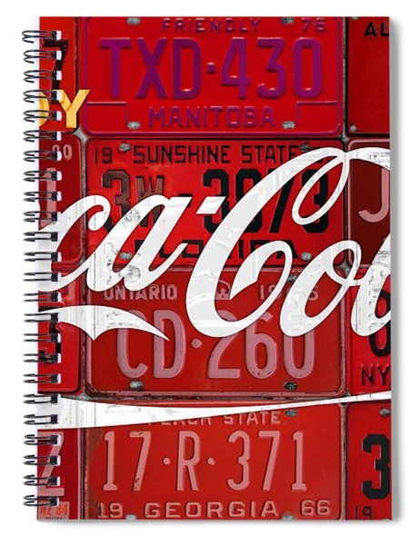 Coca Cola Enjoy Soft Drink Soda Pop Beverage Vintage Logo Recycled License Plate Art Spiral Notebook