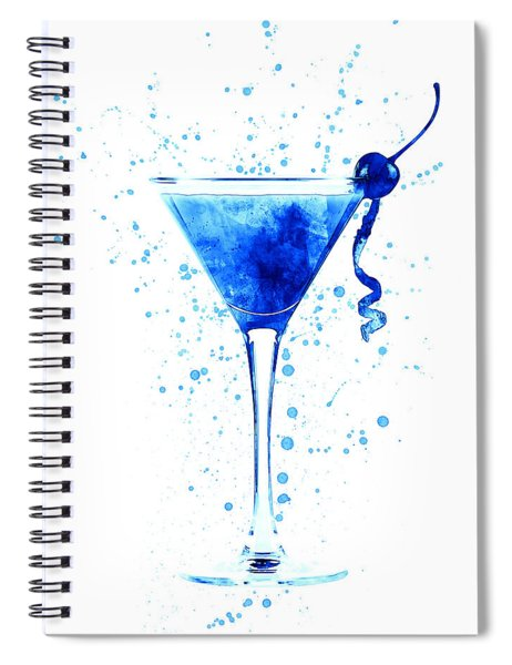 Cocktail Drinks Glass Watercolor Spiral Notebook