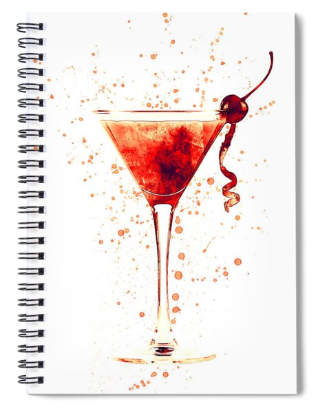 Cocktail Drinks Glass Watercolor Red Spiral Notebook
