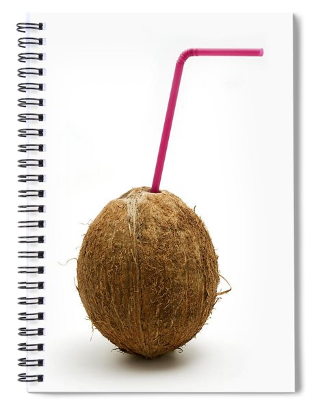 Coconut With A Straw Spiral Notebook