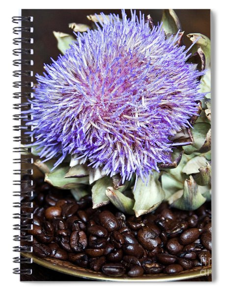Coffee Beans And Blue Artichoke Spiral Notebook