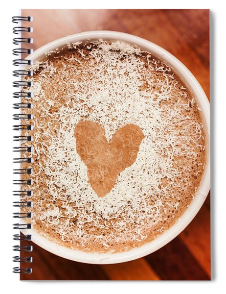 Coffee Love. White Coffee Cup On Wooden Background Spiral Notebook