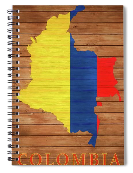 Colombia Rustic Map On Wood Spiral Notebook