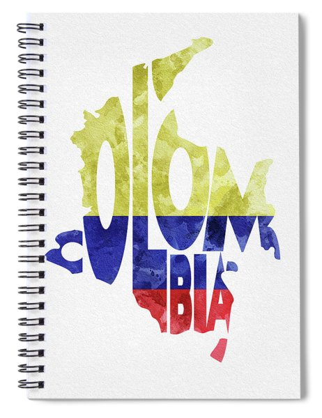 Colombia Typographic Map Flag Spiral Notebook
