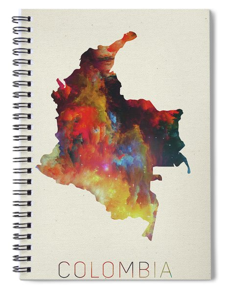 Colombia Watercolor Map Spiral Notebook