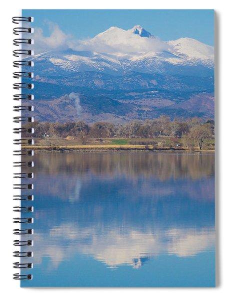 Colorado Longs Peak Circling Clouds Reflection Spiral Notebook