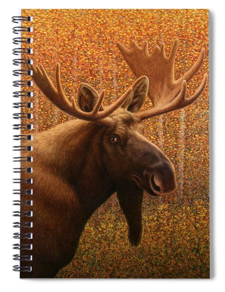 Spiral Notebook featuring the painting Colorado Moose by James W Johnson