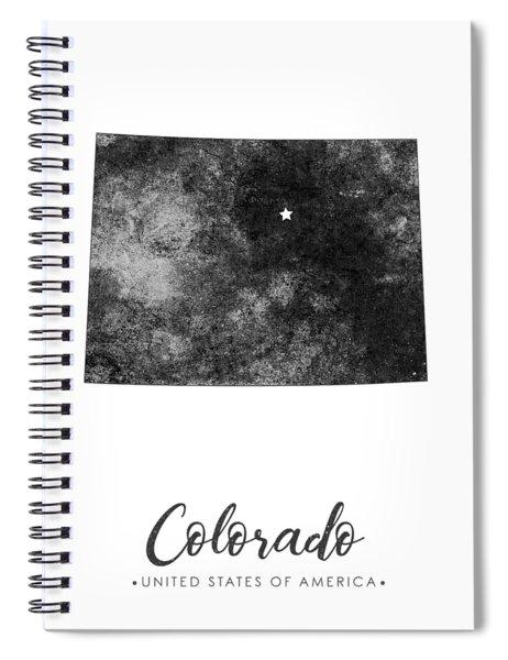 Colorado State Map Art - Grunge Silhouette Spiral Notebook