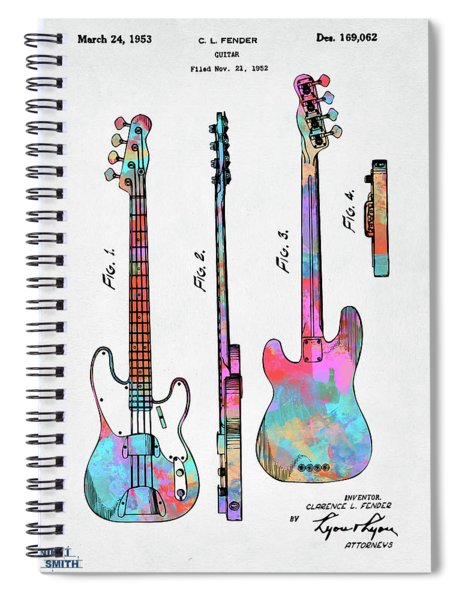 Colorful 1953 Fender Bass Guitar Patent Artwork Spiral Notebook