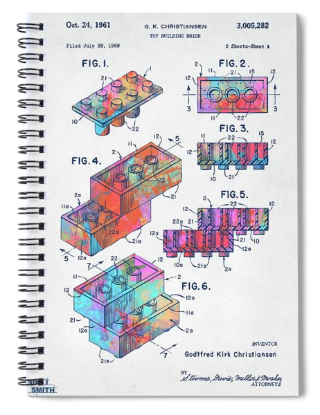 Colorful 1961 Toy Building Brick Patent Art Spiral Notebook