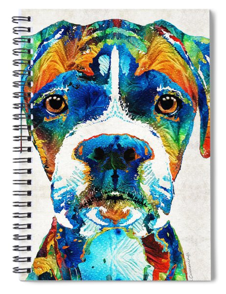 Colorful Boxer Dog Art By Sharon Cummings  Spiral Notebook