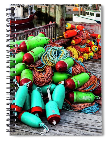 Colorful Buoys On The Wharf, Peggy's Cove Spiral Notebook
