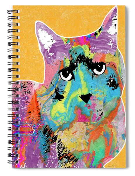 Colorful Cat With An Attitude- Art By Linda Woods Spiral Notebook