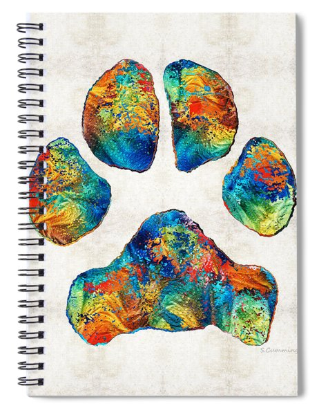 Colorful Dog Paw Print By Sharon Cummings Spiral Notebook