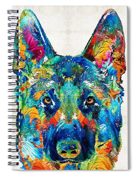 Colorful German Shepherd Dog Art By Sharon Cummings Spiral Notebook
