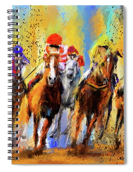 Colorful Horse Racing Impressionist Paintings Spiral Notebook