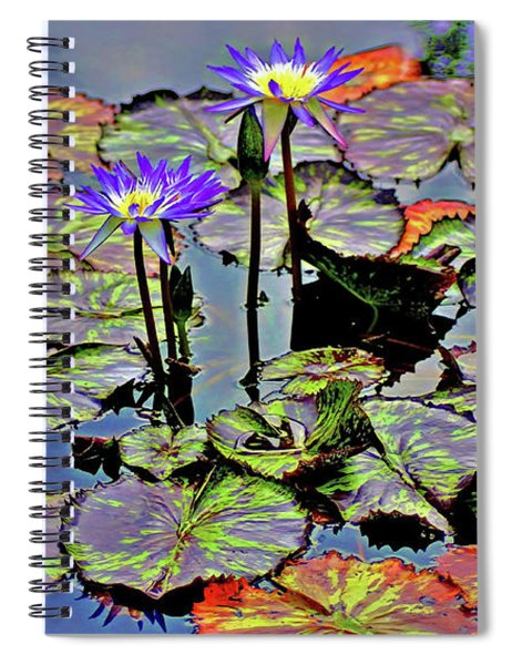 Spiral Notebook featuring the photograph Colorful Lily Pads by Patti Whitten