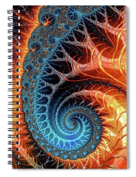 Colorful Luxe Fractal Spiral Turquoise Brown Orange Spiral Notebook