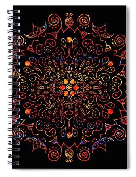Colorful Mandala With Black Spiral Notebook