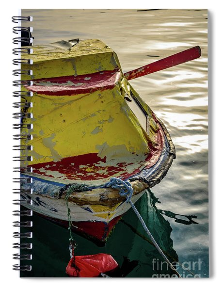 Colorful Old Red And Yellow Boat During Golden Hour In Croatia Spiral Notebook