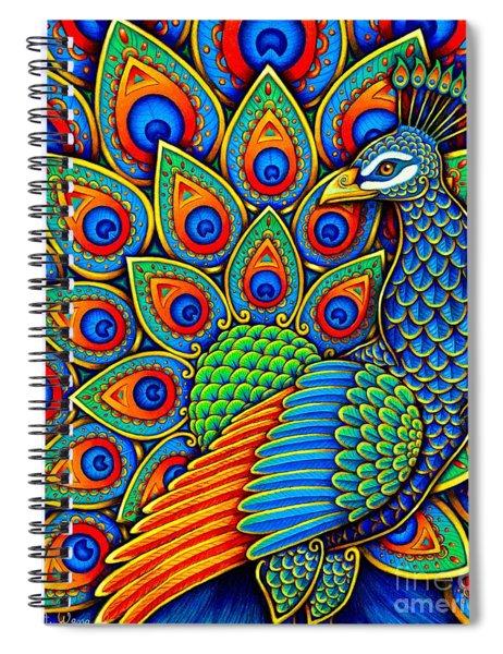 Colorful Paisley Peacock Spiral Notebook